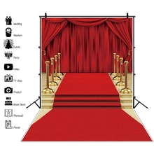 Laeacco Stage Red Carpet Curtain Superstar Baby Birthday Party Photography Backgrounds Photo Backdrops Photocall Studio