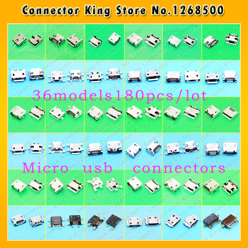 ChengHaoRan 36models micro usb connector Very common used charging port for ZTE Lenovo Huawei and other brand mobile,tablet GPS 100pcs 10pcs each for 10 kind micro usb 5pin jack tail socket micro usb connector port sockect for samsung lenovo huawei zte htc