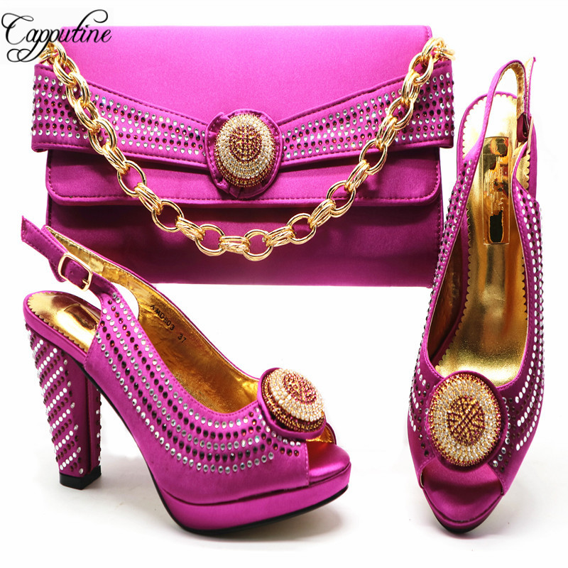 Capputine 2018 New Arrival Fashion Woman Shoes And Bag Set African Wedding Party Shoes And Bag Set Italian Shoes And Bag Set G53 все цены