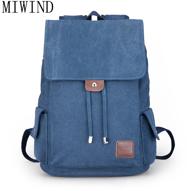 abbb4652ed2 MIWIND 2017 Men Male Canvas Backpack College Student School Backpack Bags  for Teenagers Vintage Mochila Casual