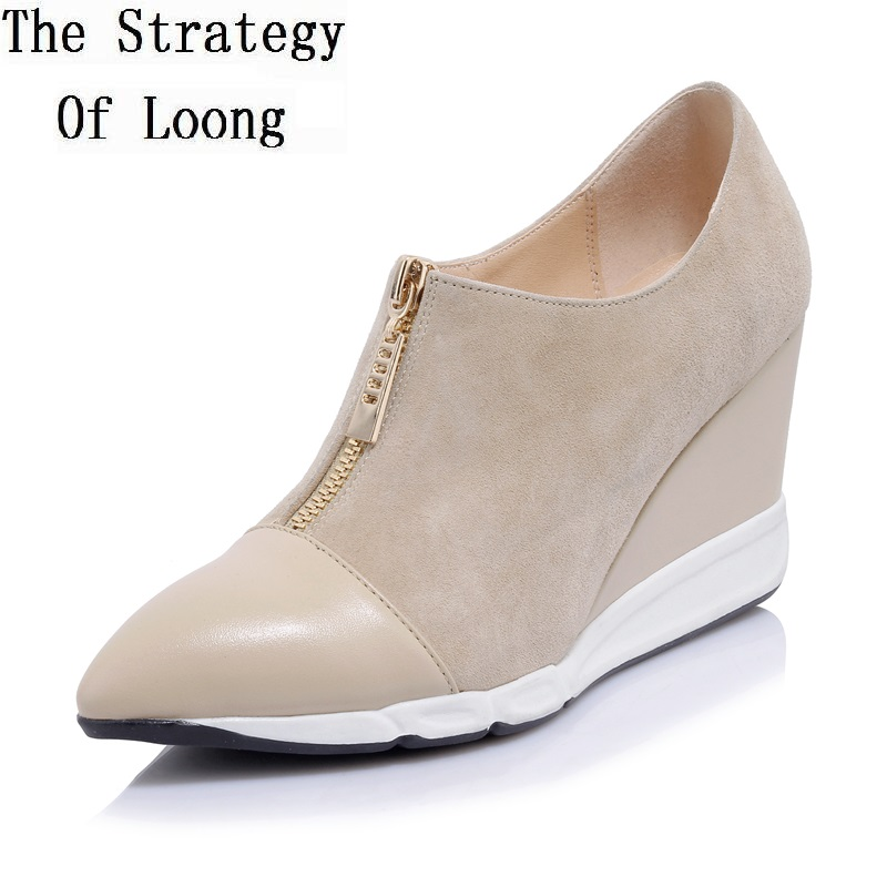 Women Spring  Autumn Zip Height Increasing High Heels Boots Full Grain Leather Fashion Casual Ankle Shoes 20170113 мужские ботинки spring autumn grimentin zip 38 45 b6 autumn boots