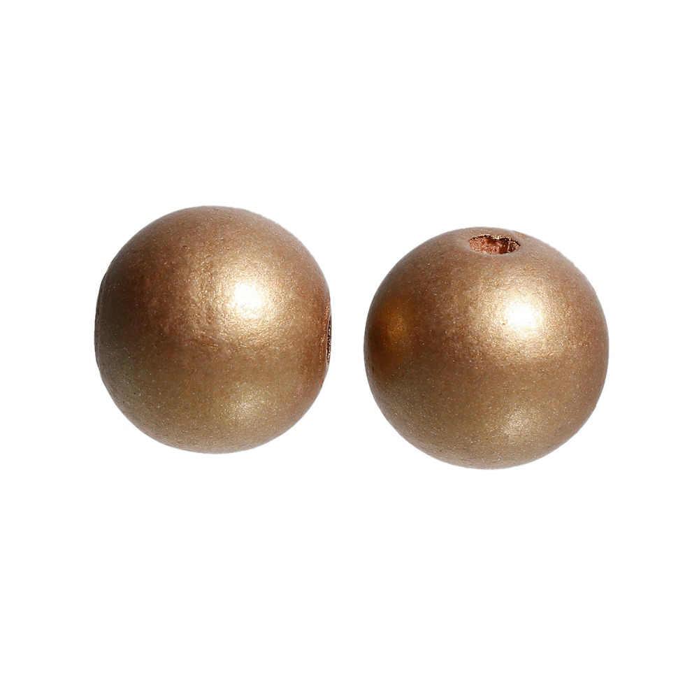 """DoreenBeads ไม้ Hinoki Spacer ลูกปัดรอบสีทองลูกปัด DIY ผลการค้นหาเครื่องประดับประมาณ 24 มิลลิเมตร (1 """") เส้นผ่านศูนย์กลางรู: ประมาณ 5.3 มิลลิเมตร, 2 ชิ้น"""