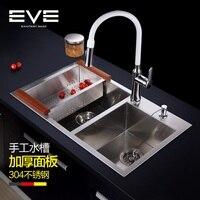 304 кухонная раковина из нержавеющей стали, двойная раковина для ванны бассейна, утолщенные миски из нержавеющей стали