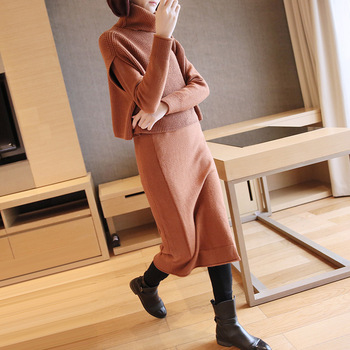 2018 autumn and winter new suit women's fashion high collar sweater female winter temperament slim knit skirt two-piece