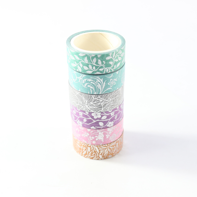 New Cute Kawaii Japanese Sliver Foil Packing Washi Paper Tape Rolls Set DIY Scrapbooking Diary Masking Tapes Stationery,6pcs