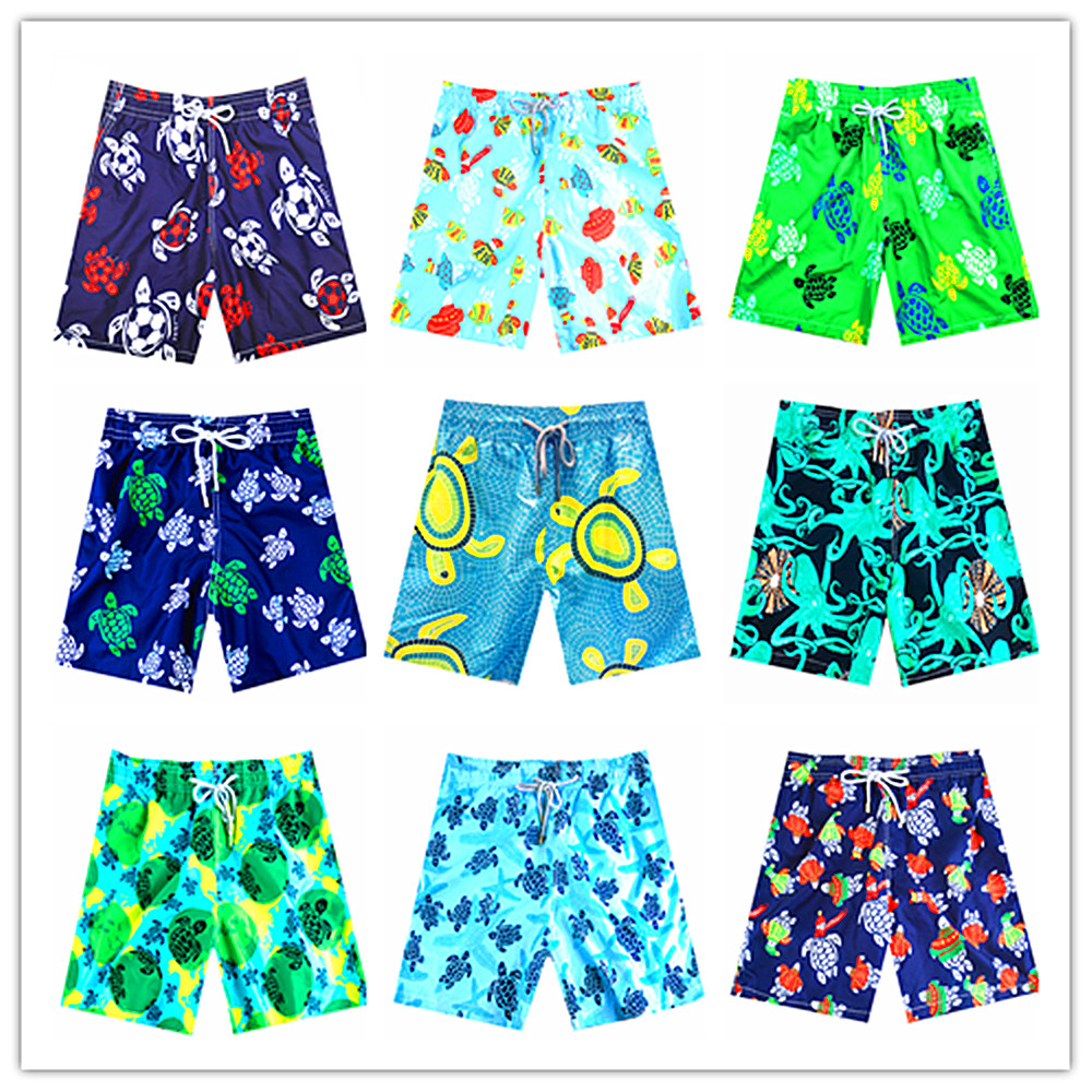 2019 Vilebre Men Beach   Board     Shorts   Mappemonde Dots Turtle Octopussy Et Coquillages Mens Bathing   Shorts   100% Quick Dry Swimwear