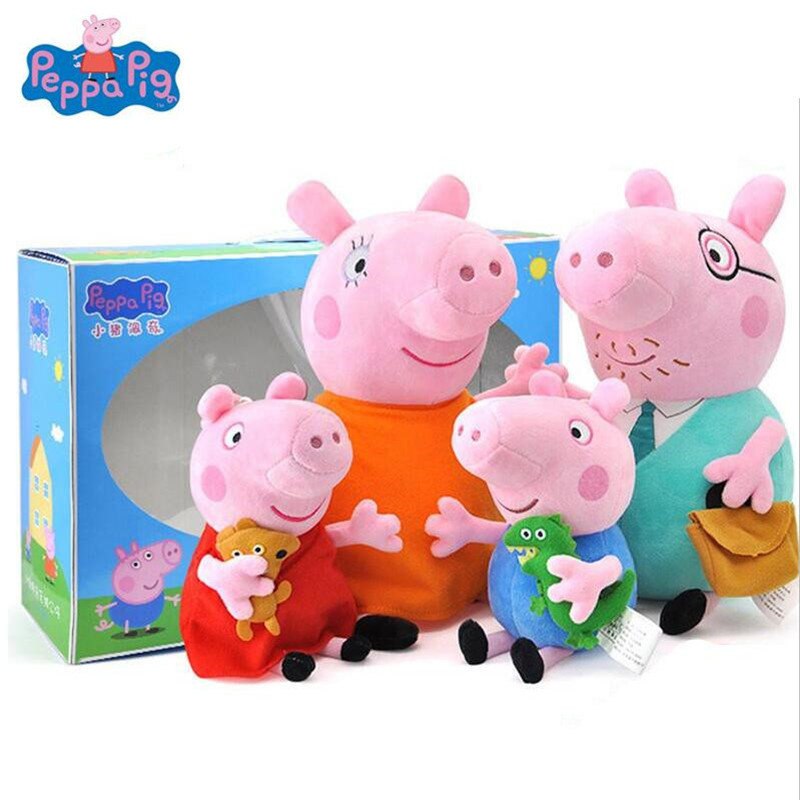 Peppa Pig family Plush Toys pink pig pepa pig George Pig Family Toys For Children Hobbies Dolls Stuffed Plush Toys Gifts Genuine free shipping new 4 pcs set family pig plush doll soft toy father and mother pig and george 7 8 19 30 cm retail page 2