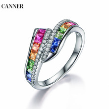 Canner Rainbow Stone Rings For Women Fashion Colorful AAA Zircon Bague Femme Jewelry Vintage Wedding Band Silver W4