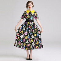 Luxury Designer Women Fasion Floral Printing Lace Button Festival Peter Pan Collar Short Sleeve Floral Runway Maxi Dresses Dress