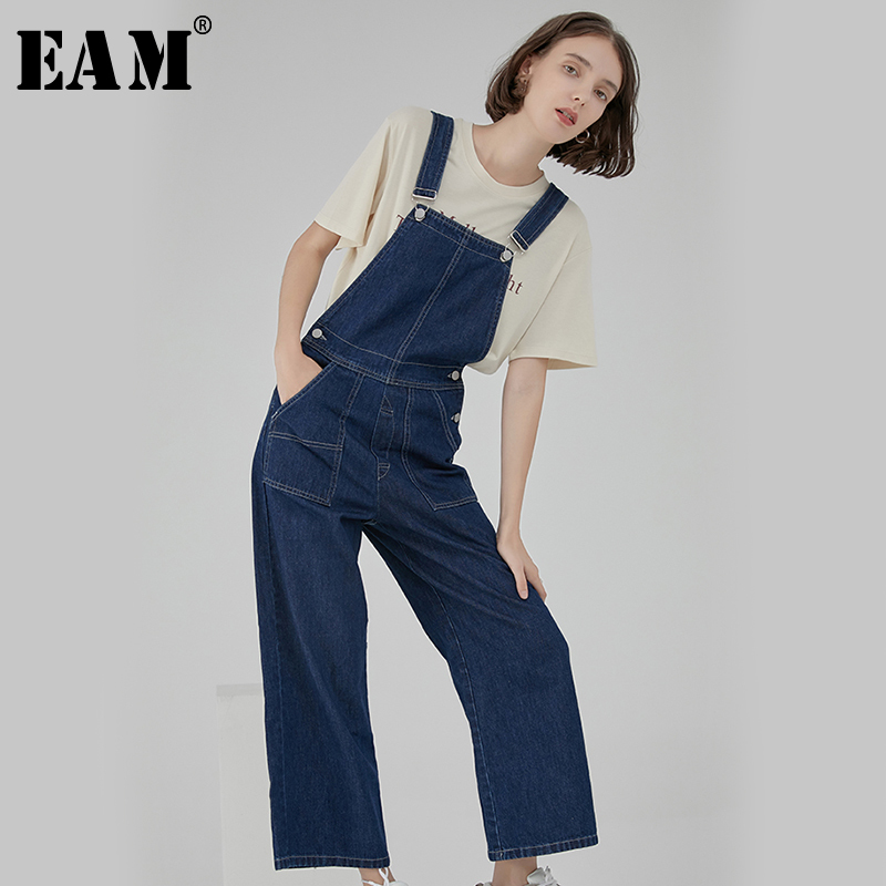 [EAM] 2019 New Spring Summer High Waist Loose Denim Loose Pocket Wide Leg   Jeans   Women Trousers Overalls Fashion Tide JU270