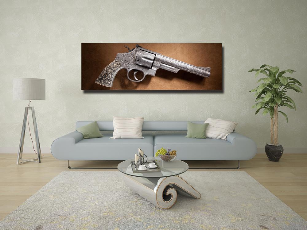 Weapon Revolver Vintage Gun Poster 5 Panel Canvas Print Wall Art