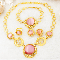 2018 European Fashion Luxury Wedding 24 Gold Jewelry Sets Pink Crystal Necklace Ring Bracelet Charm Bride Earrings Accessories