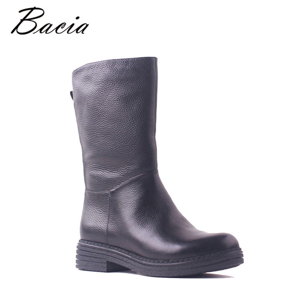Bacia Wool Fur High Quality Brand Shoes Women Warm Mid Calf Boots Metal Thick Low Heels Genuine Cow Leather Handmade Shoes SB111