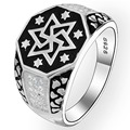 BELLA Fashion Men Unisex Hexagon Star Vintage Style 925 Sterling Silver Band Ring Size 9/10/11 Black Tone Clear Cubic Zircon