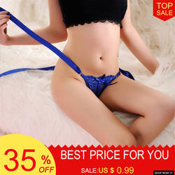 Новый плюс Размеры пикантные Для женщин с бантом низкая талия стринги Нижнее белье Для Женщин Трусики стринги Для женщин Горячие строки