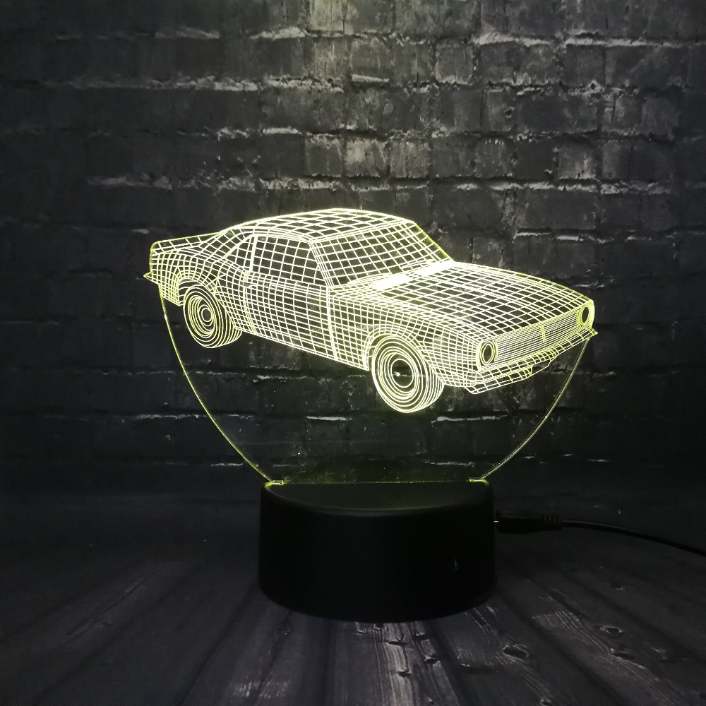 Hot SALE Cuba Retro Animation Cool Car 3D USB LED Lamp Car-Styling - Night Lights - Photo 4