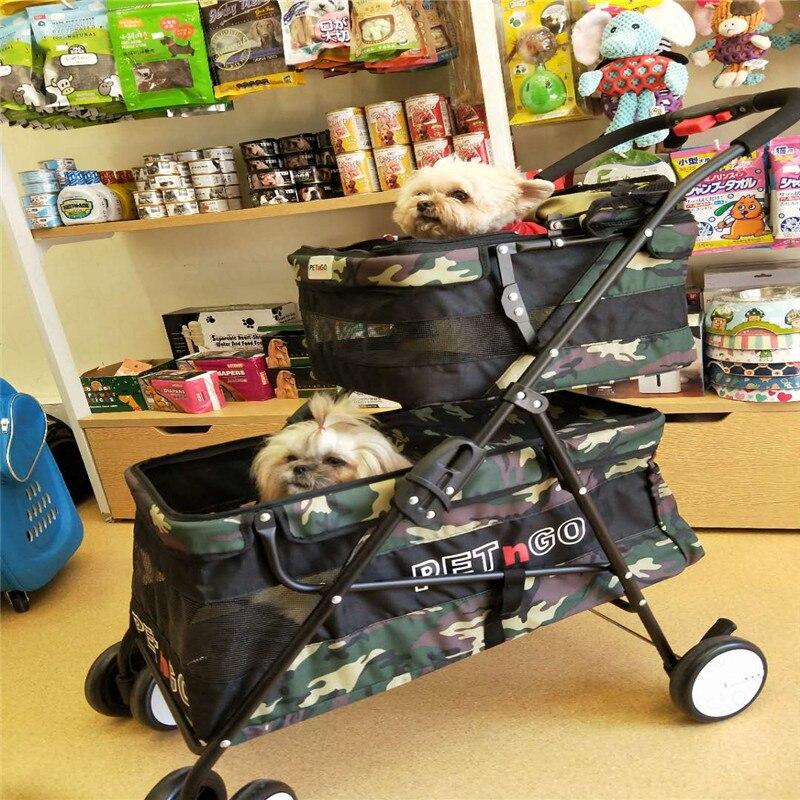 Lightweight folding double pet stroller dog cart cat stroller four wheel outdoor travel supplies