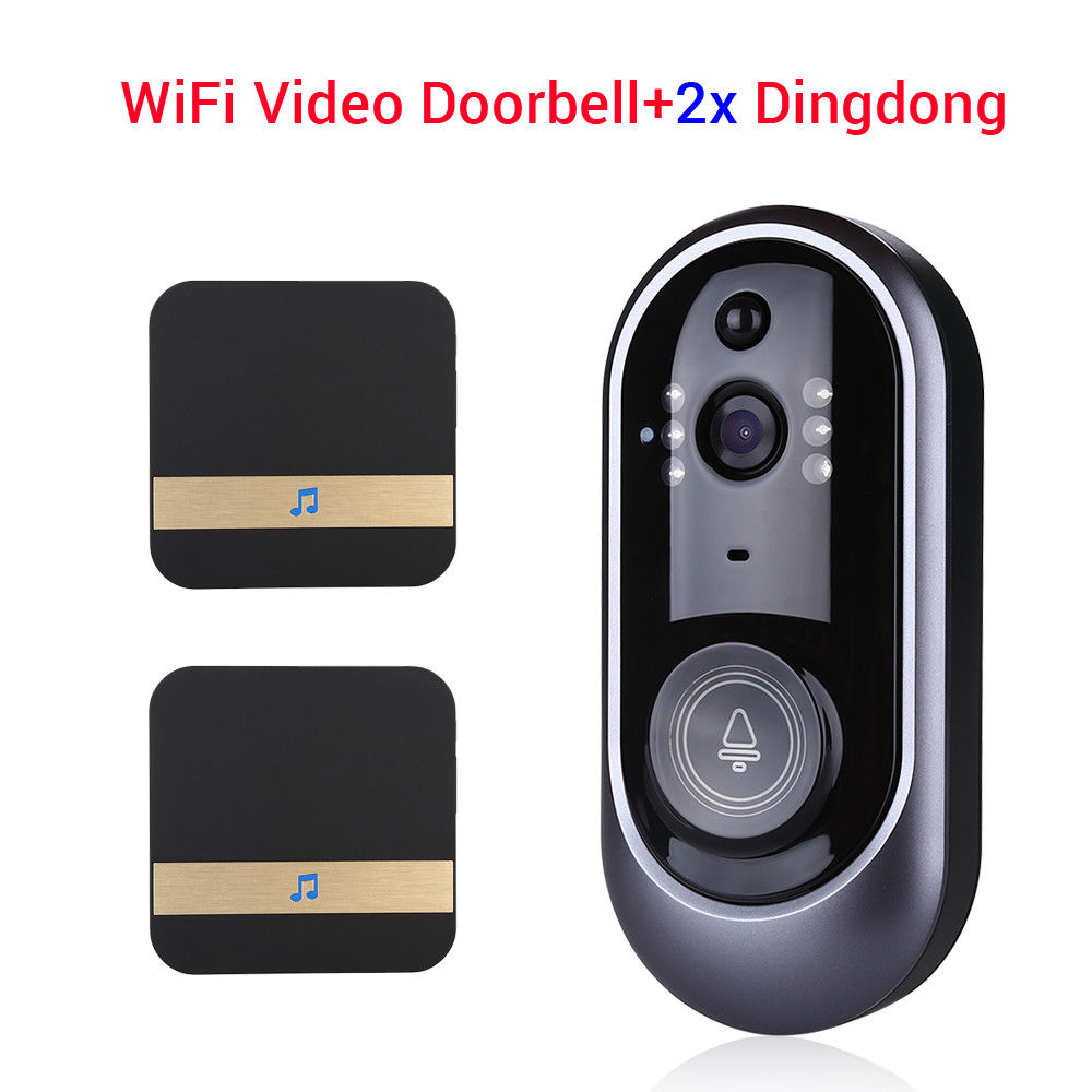 WiFi Doorbell Visual Camera Video Intercom Security 166 degree with 2pcs Dingdong Phone HomeWiFi Doorbell Visual Camera Video Intercom Security 166 degree with 2pcs Dingdong Phone Home