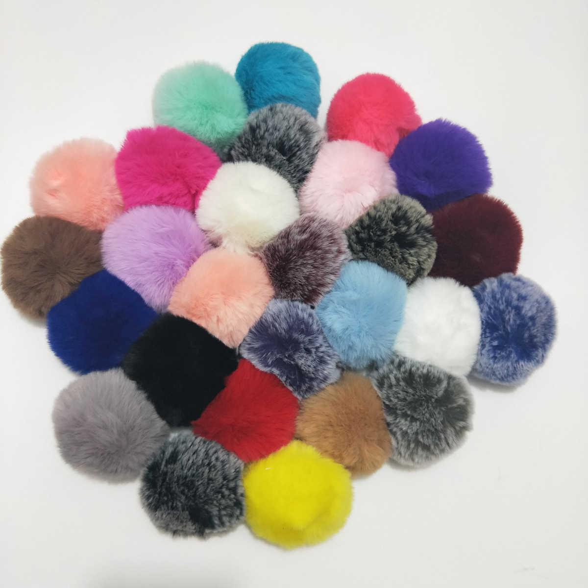 2018 Simples Chaveiro Bola De Pêlo Pompom Pompom Chaveiro Saco Chaveiro Carro Coelho Artificial Peles De Animais Chaveiros para Mulher 27 cores