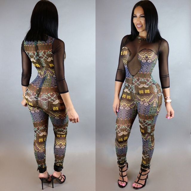 2017 Women Sexy Club Jumpsuits Maxi Rompers New Fashion Bodycon Mesh Playsuits Elegant Casual Dashiki Full Bodysuit Overalls