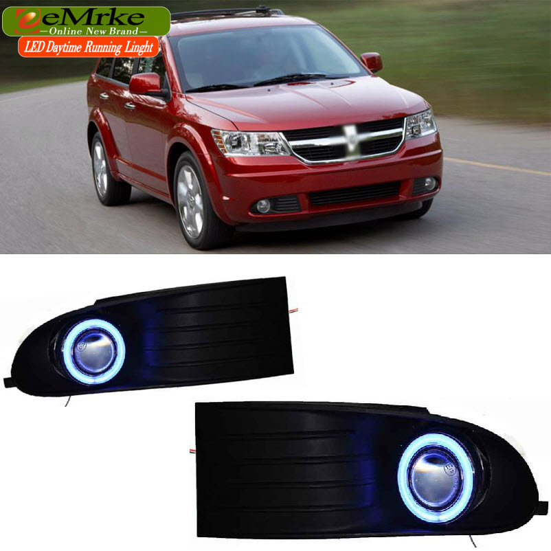 EEMRKE Car Styling For Dodge Journey JC 2009-2011 2in1 LED Angel Eyes DRL Fog Light Daytime Running Lights Halogen Bulbs H11 55W custom cargo liner car trunk mat carpet interior leather mats pad car styling for dodge journey jc fiat freemont 2009 2017