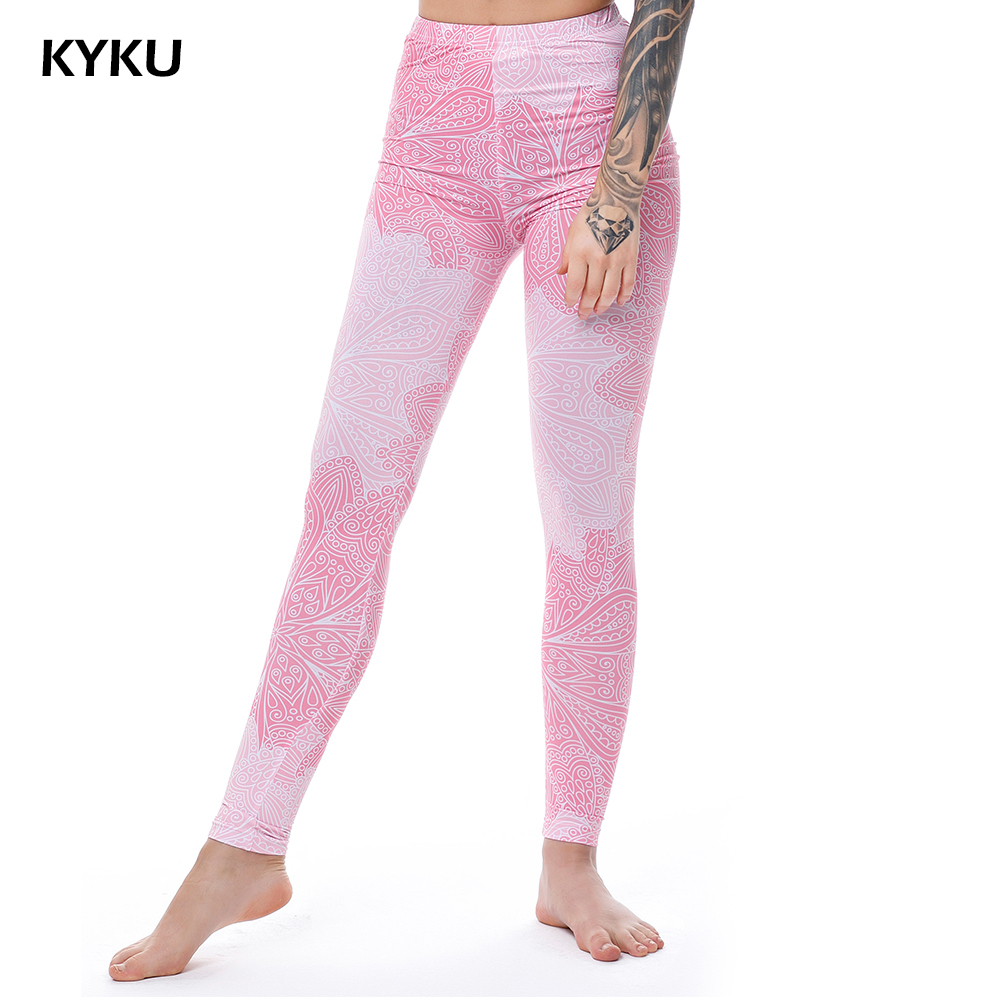 KYKU Brand Pink Leggings För Kvinnor Sexiga Leggings For Fitness Flowers Mandala Legging Slim High Waist Leggins Dam Fashion Print