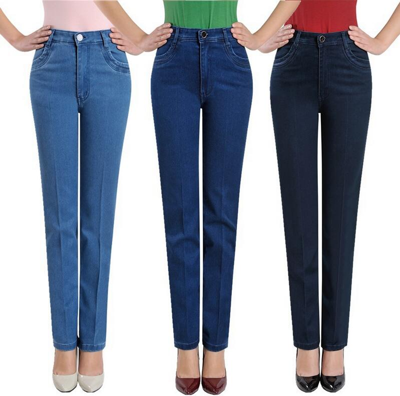 2018 New spring autumn women jeans high waist stretch denim pants plus size straight trousers s691