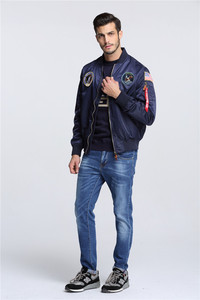 Image 4 - Autumn Apollo Thin 100th SPACE SHUTTLE MISSION MA1 Bomber Hiphop US Air Force Pilot Flight Korean College Jacket For Men
