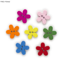 Wood-Buttons-Decor Clothing Flower Mix-Color Covered Scrapbooking Fabric Sewing 2-Hole