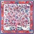 Prosperidad árbol impresión cuadrados bufanda de Las Mujeres bufandas mujer 2017 90*90 cm Ruso señoras de lujo satén de seda bufandas hijab A342