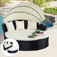 Elegant Outdoor Patio Rattan Round Retractable Canopy Daybed Infinitely Reconfigurable Seat Soft Cushions Pillows Patio Couch