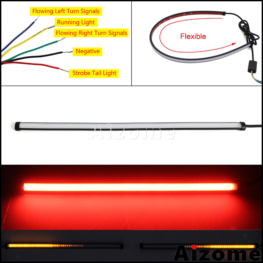 45cm Flexible Motorcycle Brake Tail Lights LED Strip Sequential Switchback Strobe Stop Taillight w/ Flowing Turn Signals Light