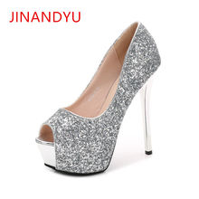цены на 14CM Sexy Lady Heels Peep Toe Stiletto Womens Shoes Pumps Sequins Waterproof Platforms Heels 2019 Nightclub Ladies Party Shoes  в интернет-магазинах