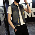 2016 hot selling spring new mens personality hole sleeveless jeans vest jacket denim vest Korean male youngsters tide