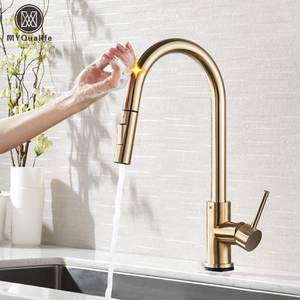 Pull Out Sensor Kitchen Faucet Brushed Gold Sensitive Touch Control Faucet Mixer For Kitchen Touch Sensor Kitchen Mixer Tap(China)