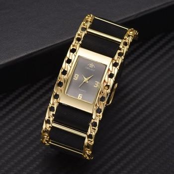 Luxury Gold Bracelet Quartz Clock Wrist Watches For Women Fashion Stainless Steel Creative Dress Watch Relogio Feminino