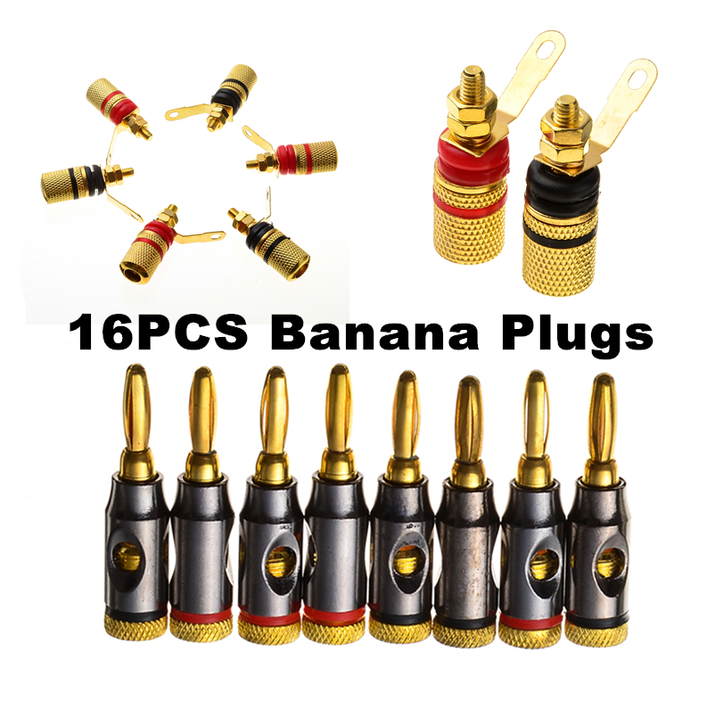 16pcs Red+Black 24k Gold Plated Banana Plugs Set Audio Speaker Terminal Binding Posts Connectors power amplifier Adapters 20pcs 4mm gold plated banana audio speaker plugs set wire connectors musical cable adapters for electronics e with box