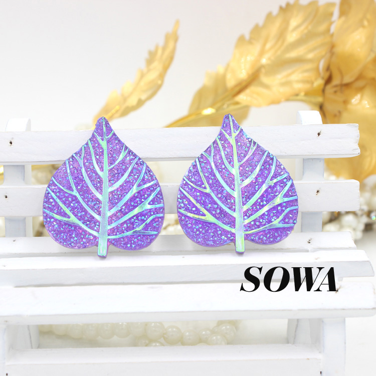 2016 New 20PCS Size 40*33mm Purple AB Heart Leaves Resin Flatback Scrapbooking For Phone/Wedding/Craft DIY!
