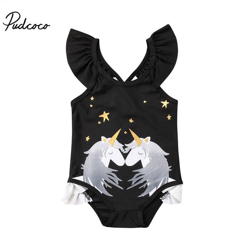 2018 Brand New Toddler Infant Child Kids Baby Girls Unicorn Bikini Set Swimwear Swimsuit Bathing Beachwear Unicorn One Piece Set(China)