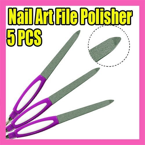 Wholesales Price Freeshipping 25pcs/LOT purple nail file polisher 2 ways nail art Tool C127