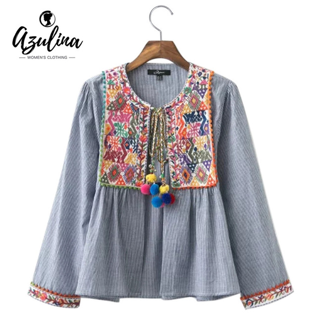 AZULINA Vintage Floral Embroidery Blouse Blusas Women Long Sleeve Blue Striped Spring Summer Cotton Linen ethnic blouse top 2017