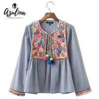 2016 Vintage Floral Embroidery Ethnic Women Blouse Blusas Long Sleeve Blue Striped Spring Autumn Cotton Linen