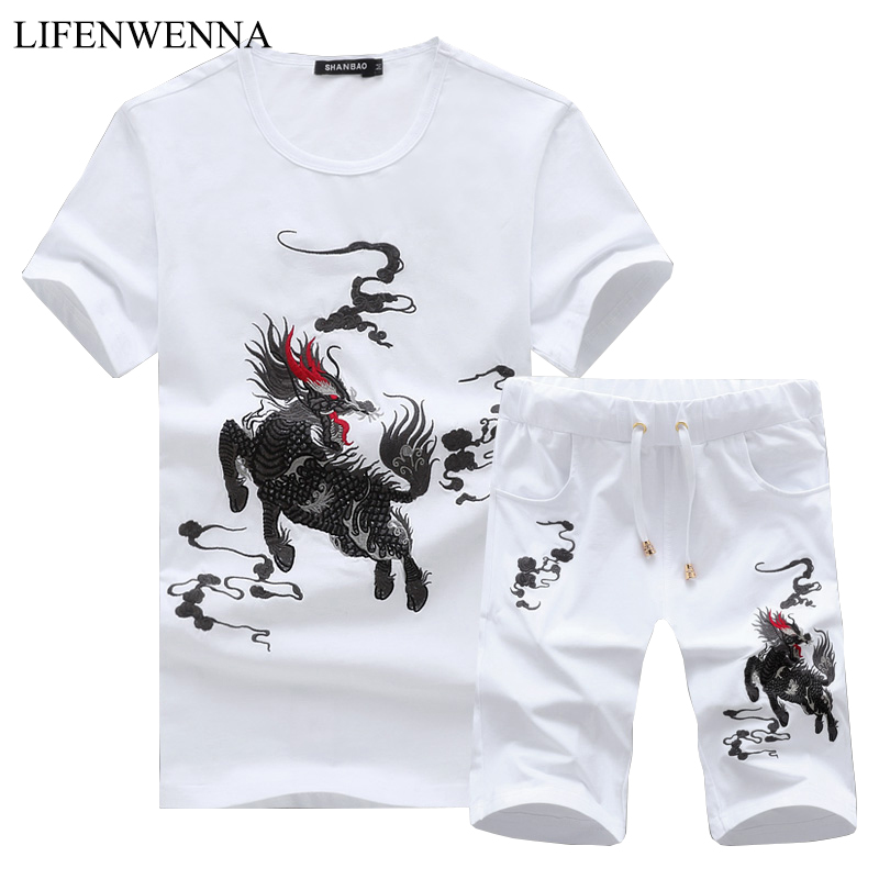 Fashion Kirin Embroidery Suits For Men Chinese Style Cotton Suit Sets 2019 New Summer Short Sets Mens Casual T Shirt+ Shorts 5XL