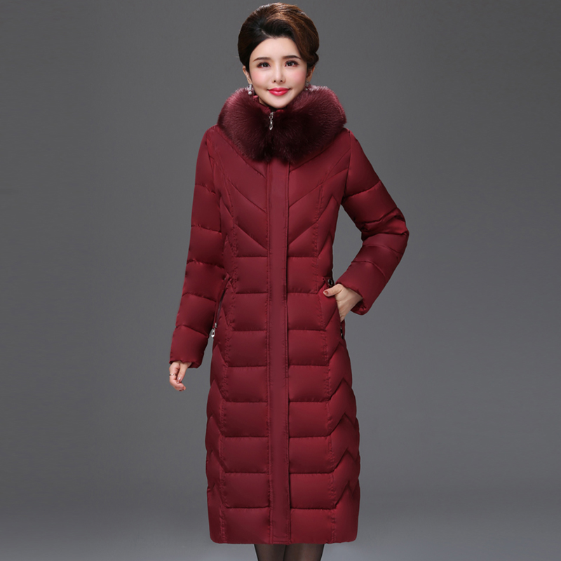 European style 2019 High Quality Winter Jacket Women X-long Fur Collar Hooded Female Plus Size 5XL 6XL Coat Warm Womens   Parka