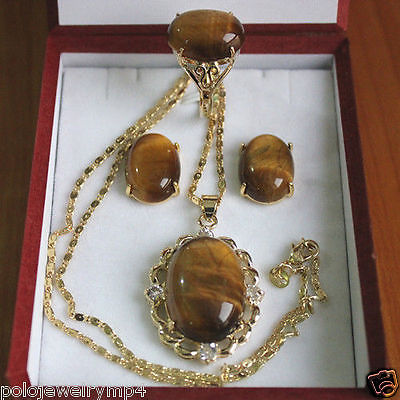 Jewelry Tiger Eye Stone Ring Earrings Pendant Set >*- watch wholesale Quartz stone CZ crystal цена и фото