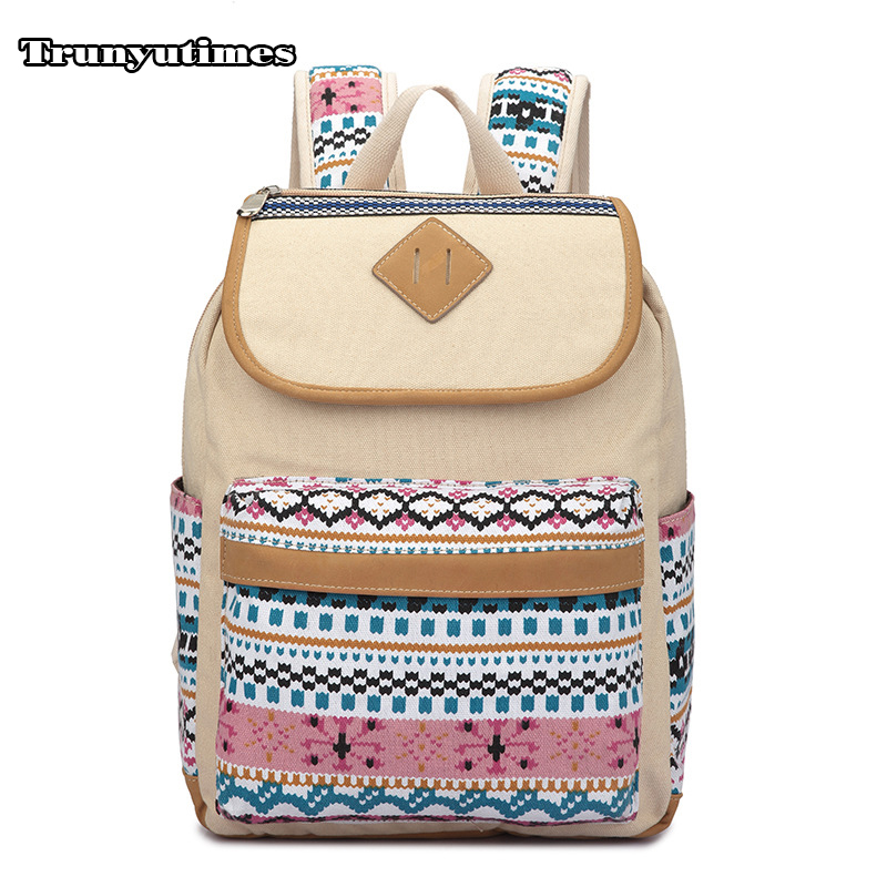 Women Backpack Casual Canvas Ethnic Bag Khaki Schoolbag Backpack Laptop Backpack Printing School Bags Bookbags for