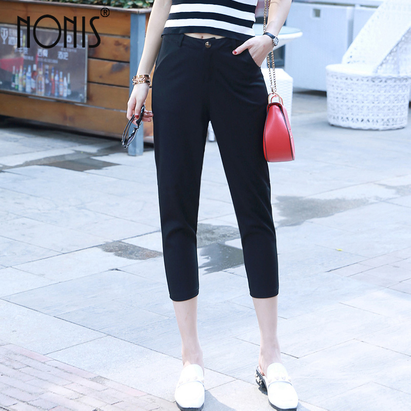 Nonis Summer New Style Women calf length Casual/work Loose Elastic fabric harem   pants     capris   pencil trousers Plus size 5XL