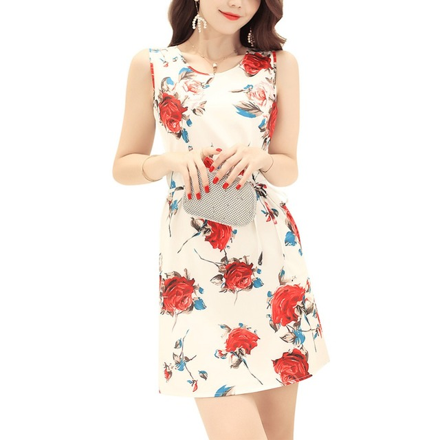 9e8eee8dc22b 2018 New Women Summer Fashion 3D Printing Flower Simple Style Straight Dress  Woman O-neck Casual Dresses Party Mini Dresses