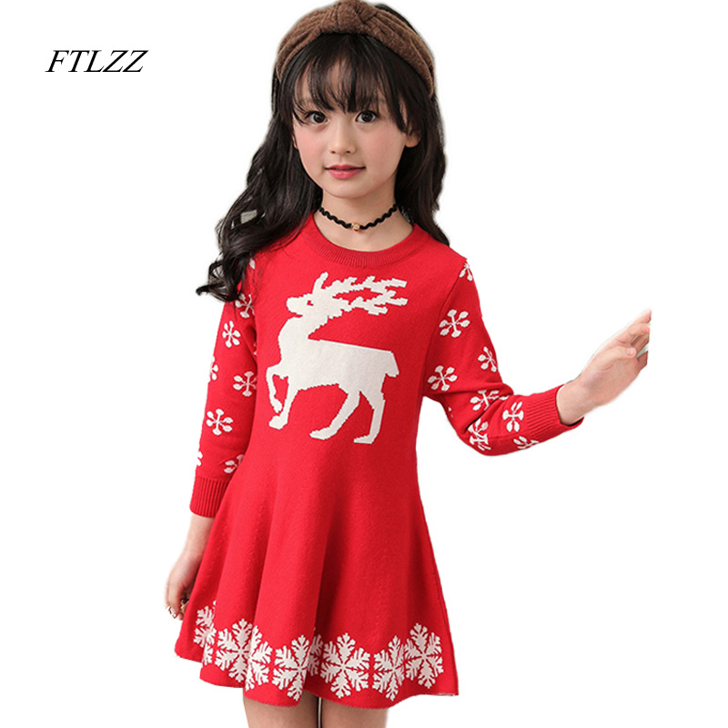 Baby Girls Knitted Sweater Clothing Dress 2017 Autumn Winter New Long Sleeve Cute Cartoon Pattern Girl Dress Children Clothes girls dress winter 2016 new children clothing girls long sleeved dress 2 piece knitted dress kids tutu dress for girls costumes