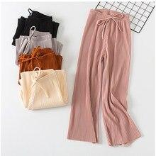 2018 new wide leg pants Korean version of the wild nine pants loose wide leg pants female summer sense high waist pants